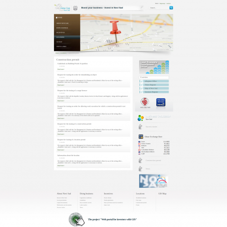 Web portal for investors with GIS
